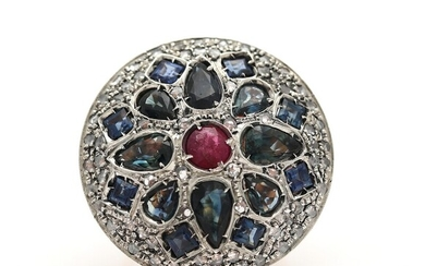 A sapphire, ruby and diamond ring set with numerous sapphires, a ruby and diamonds, mounted...