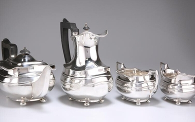 A GEORGE V SILVER FOUR-PIECE TEA SERVICE, by