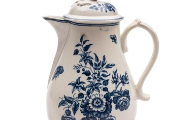 An unusual First Period Worcester blue and white coffee pot ...