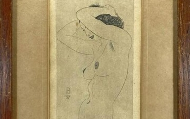 Antique European nude signed drawing