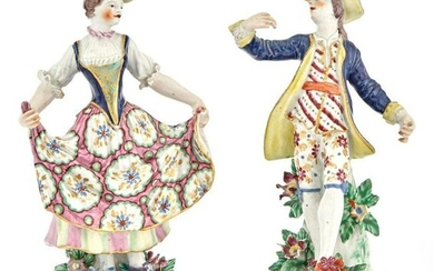 Associated Pair of Bow Porcelain Figures of Dancers