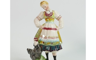 Beswick figure of a lady with chicken 1222