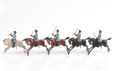 Britains lead-painted figures, 3rd Madras Light Cavalry with Trumpeter set no.45