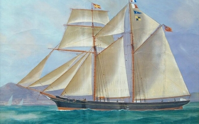 British School, mid-19th century- Little Pet, a British Schooner in calm seas and stormy waters; bodycolour on paper, a pair, ea. inscribed with title, each 40.5 x 50.5 cm (2)