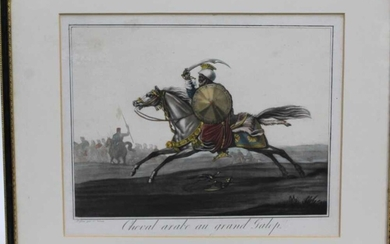 Carle Vernet (1758-1837) pair of hand coloured engravings - Cheval arabe au grande Galop and Cheval arabe non harnache, 28cm x 34cm, in glazed frames