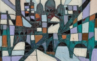 Claude Venard, French 1913-1999- Geometrie; oil on canvas, signed lower...