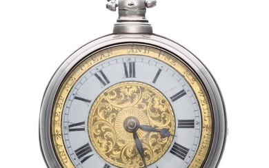 Early 19th century English 'motto dial' silver pair cased ve...