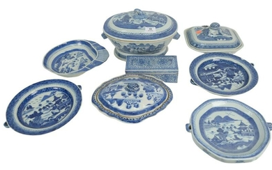 Eight Piece Lot of Canton to include 3 warming plates