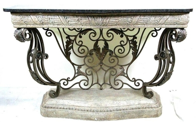 FRENCH STYLE IRON BASE MARBLE TOP CONSOLE TABLE