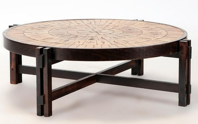 FRENCH WOOD CERAMIC COFFEE TABLE CAPRON C 1970