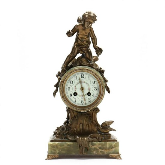 French Green Onyx and Brass Figural Mantel Clock