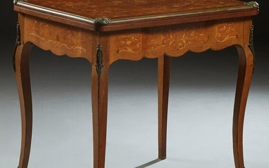 French Inlaid Mahogany Ormolu Mounted Games Table, 19th