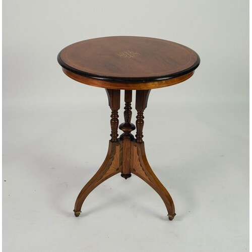 GOOD EDWARDIAN INLAID ROSEWOOD OCCASIONAL TABLE, the moulded...