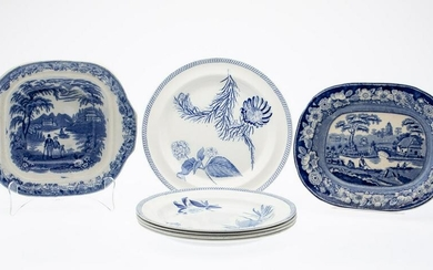 Group of 7 English Blue and White Porcelain Articles
