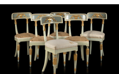 Group of six blue lacquered wooden chairs (defects and restorations) Inspired by a model of the Royal Palace of Monza