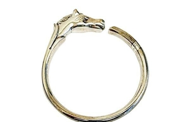 Hermes Sterling Silver Cheval Horse Heavy Bangle