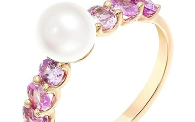 Impressive Fancy Pearl Pink Sapphire Diamond Pink Gold