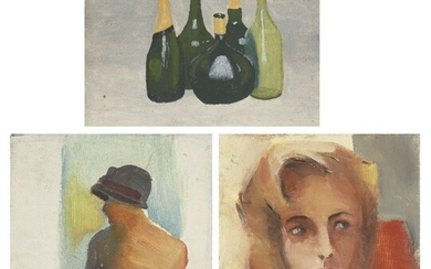 James Collins, British 1939-2021 - Female Portrait Study; oil on canvas on board, 37 x 31 cm: together with another two works by the same artist, 'Still Life with Wine Bottles', oil on canvas board, 29.9 x 40.4 cm and 'Female Portrait', oil on...
