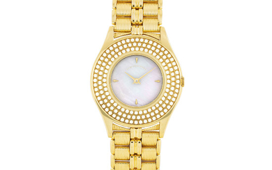 MAUBOUSSIN, GOLD AND DIAMOND-SET WITH MOTHER OF PEARL DIAL