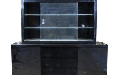 Moderne black lacquer wood display cabinet