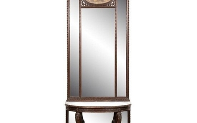 NEOCLASSICAL STYLE MAHOGANY PIER MIRROR AND TABLE