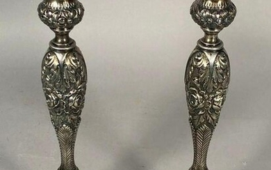 Pair Steiff Sterling Silver Repousse Candlesticks