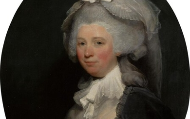 Portrait of a lady, half-length, wearing a brown dress with a black lace shawl and a white bonnet, Gilbert Stuart