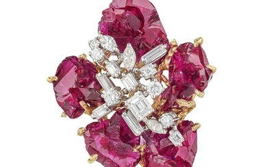 Ruby and Diamond Flower Brooch/Pendant