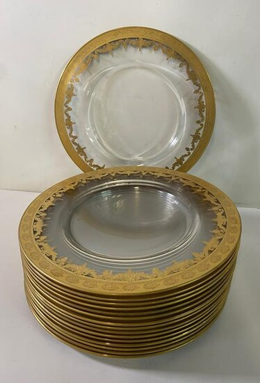 """SET OF 16 GILT & GLASS CHARGERS 14"""" DIA."""