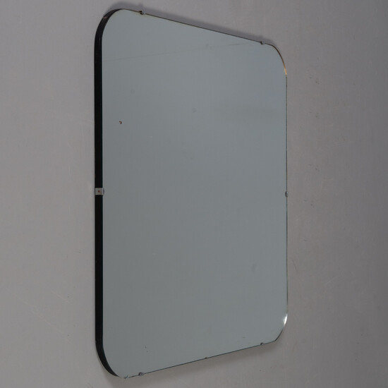 SPEGEL. For wall mounting. Black painted oak, chrome and glass, art deco style.