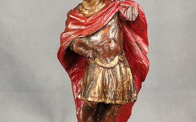 Saint Florian, full-round wooden sculpture, partly coloured, on acrylic base, 18th/19th century, 19