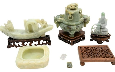 Six Carved Chinese Jade, Jadeite, and Stone Items to