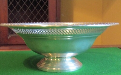 Solid Silver Fruit Bowl with Gadrooned Edge Decoration above...