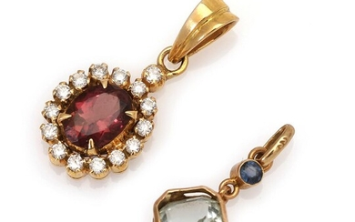 Two pendants comprising one set with a tourmaline and numerous diamonds, mounted in 18k gold and one set with an aquamarine and a sapphire, mounted in 14k gold. – Bruun Rasmussen Auctioneers of Fine Art