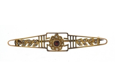 Unmarked gold garnet and seed pearl bar brooch, housed in a ...