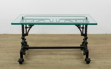 Wrought Iron Glass Cocktail Table