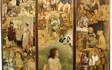 folding screen, glossy pictures motif, 170 cm, some