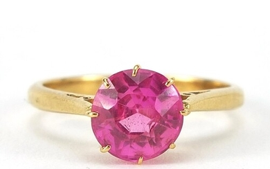18ct gold ruby solitaire ring, the stone approximately 8mm i...