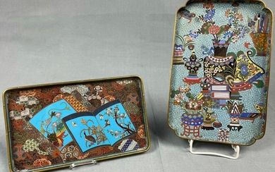 2 cloisonné trays. Probably Japan, China antique.