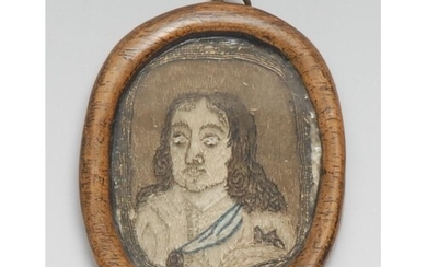 A 17th century needlework portrait miniature, embroidered in...