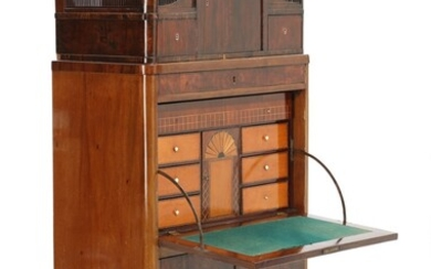 NOT SOLD. A 19th century mahogany Empire secretaire with drawers and a writing leaf. H....