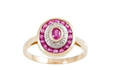 A DIAMOND AND RUBY CLUSTER RING, comprising an oval panel, m...