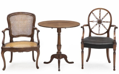 NOT SOLD. A George III style mahogany armchair (20th century), a French Rococo style walnut armchair (19th century) and an English mahogany Tilt-top table – Bruun Rasmussen Auctioneers of Fine Art