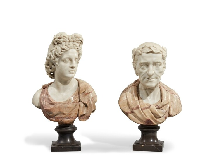 A Matched Pair of Italian Marble Busts of Apollo and a Roman Emperor, 18th Century