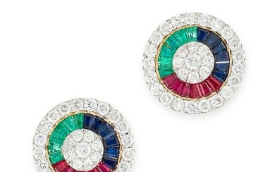 A PAIR OF RUBY, SAPPHIRE, EMERALD AND DIAMOND EARRINGS