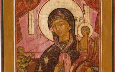 A SMALL ICON SHOWING THE MOTHER OF GOD 'OF UNEXPECTED...