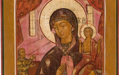 A SMALL ICON SHOWING THE MOTHER OF GOD 'OF...