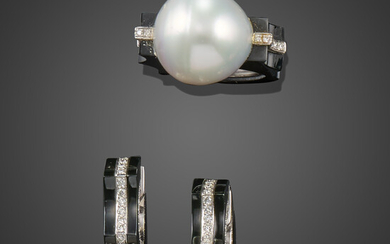 A cultured pearl, diamond and onyx ring with matching earrings