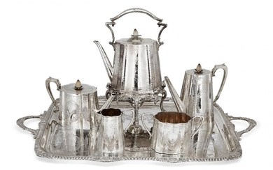 A matched Victorian silver six-piece tea set, London, c.1883, Charles Boyton and Sheffield, c.1877 Fenton Brothers, together with a similarly designed silver plated tray, the matched set comprising a tea pot, coffee pot, sugar and milk jug by C...