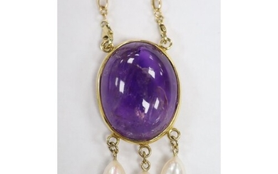A modern yellow metal mounted, oval amethyst pebble and thre...